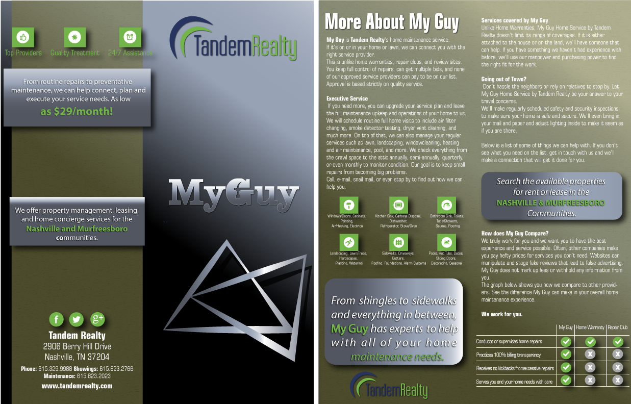 Brochure Design Contest For My Guy By Tandem Realty Hatchwise