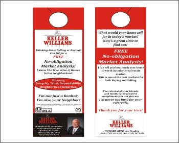 Keller Williams Door Hangers graphic design contest for keller williams realty | hatchwise