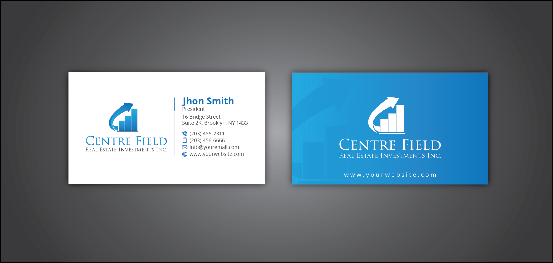 Business card and stationery design contest for centre field real view all designs reheart Image collections